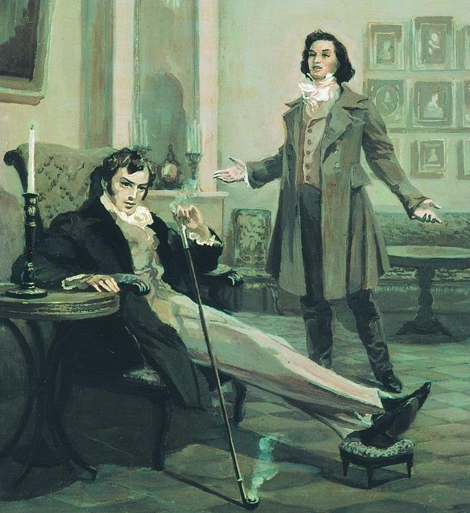 Onegin and Lensky by L. Timoshenko